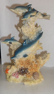 Beautiful Blue Four Dolphins Swimming Coral Collectible Sculpture Figurine Big