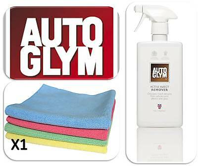 Autoglym Active Insect Remover Spray 500ml Bottle &1 Valet Wash Microfibre Cloth