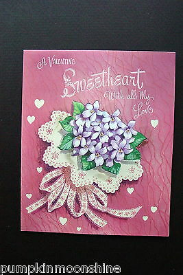 #D285- Vintage Unused Valentine's Day Greeting Card Fabric Purple Lilac Bouquet!