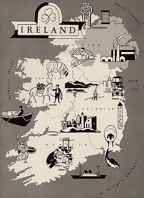1960s IRELAND Map  Fun Picture Map of Ireland Pictorial Map 1338