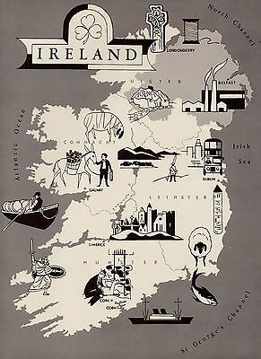 Neat IRELAND Map  Fun and Funky 60s Picture Map of Ireland Pictorial Map 1338