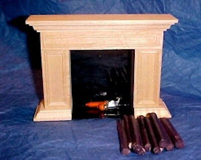 Dollhouse Mini Classic Americana Flickering Fireplace Miniatures for Doll House