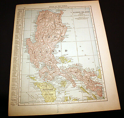 Antique Color Map Luzon Island or Hawaii 1914 Rand McNally