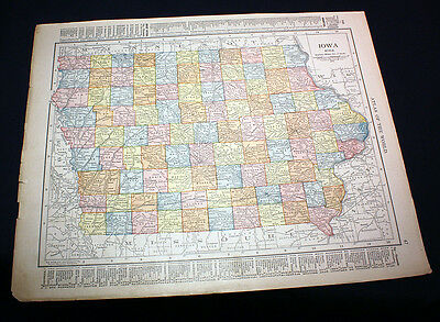 Antique Color Map State of Iowa or Missouri 1914 Rand McNally