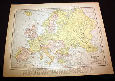 Antique Color Map Europe or the British Isles Great Britain UK 1914 Rand McNally