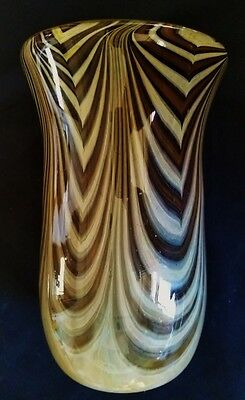 Beautiful Hand Blown Studio Art Glass Vase Signed Dick Slater 1974
