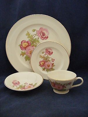 5 pc Vintage Knowles Large Pink Wild Rose Gold Trim Dinner Fruit Bread Cup