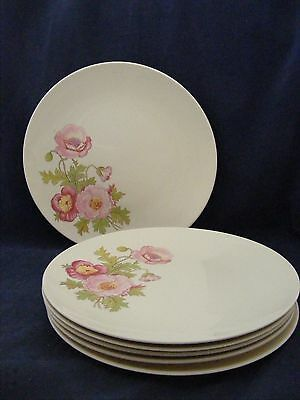 """6 Knowles Large Pink Wild Rose Green 10.25"""" Dinner Plates Gently Used"""