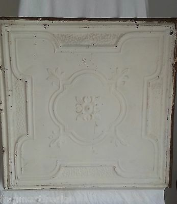 """24""""x 24"""" Antique Ceiling Tin Tile *See Our Salvage Videos* Brown A33 Ivory"""