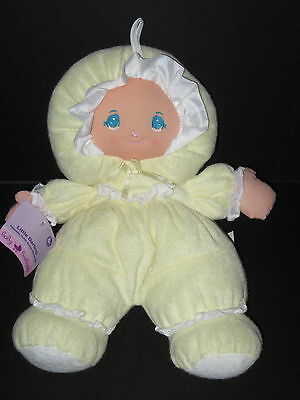 NEW Little Darlin's Darling Yellow Terry Cloth Doll Plush Soft Baby Girl Toy