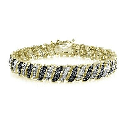 1.00ct TDW Black & White Diamond Wave Link Tennis Bracelet in Gold Plated Brass