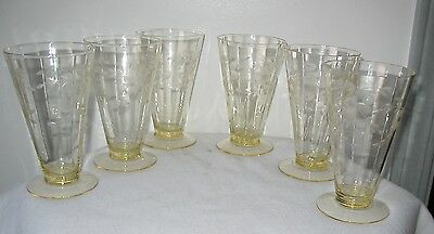 set of 6 Elegant Tiffin glasses etched pattern early 20th century