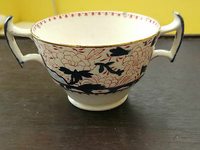 1930 + BOOTHS TWIN HANDLED SMALL SOUP BOWL  / CUP  WITH A RED AND BLUE PATTERN