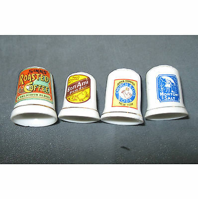 Lot 4 large advertising china thimbles