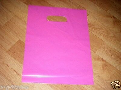 "LOT OF 50 9"" x 12"" Pink GLOSSY Low-Density Plastic Merchandise Bags, Gift Bags"