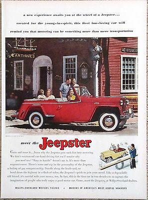 Willys JEEPSTER 1949 Advertisement Original AD Red Convertible Fun Loving Car