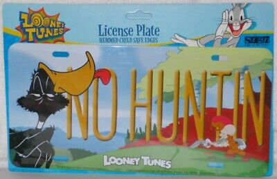 Looney Tunes Daffy Duck NO HUNTIN Metal Car License Plate, NEW SEALED