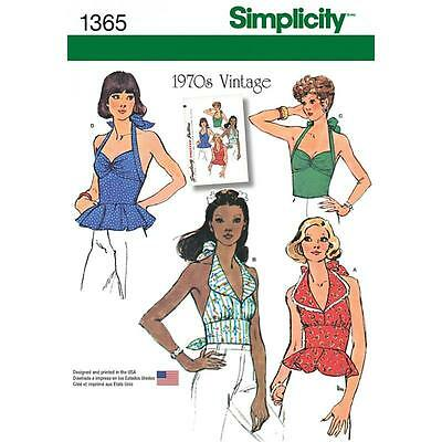 SIMPLICITY SEWING PATTERN Misses 1970s VINTAGE HALTER TOPS SIZES 6-22 1365