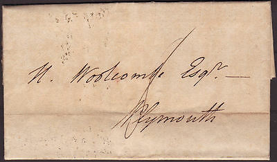 1830 Entire Exeter To Plymouth With Great Postmarks On Reverse