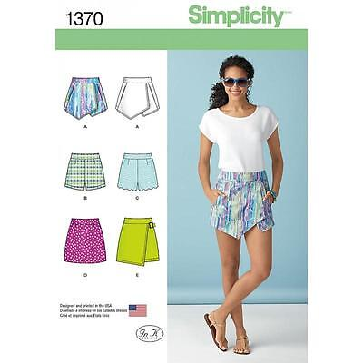 Simplicity Sewing Pattern Misses' Shorts Skort & Skirt Sizes 4 - 20  1370