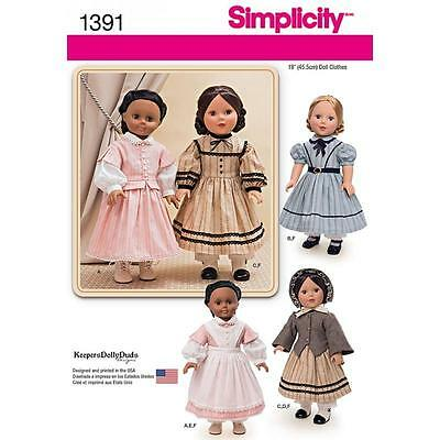 "SIMPLICITY SEWING PATTERN Civil War Doll Costume for 18"" Doll 1391"