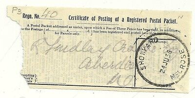 1936 24 Jun Showyard Melrose Skeleton On Cert Of Posting Registered Packet