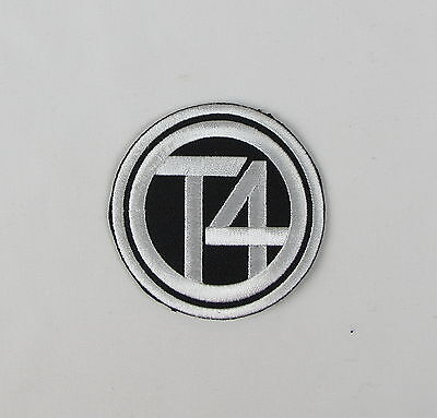 VW T4 Iron or sew on embroidered patch  Black Large camper van bus transporter
