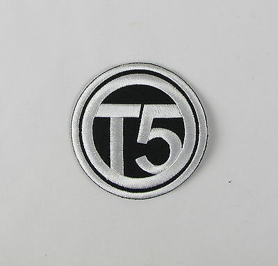 VW T5 Iron or sew on embroidered patch  Black Large camper van bus transporter