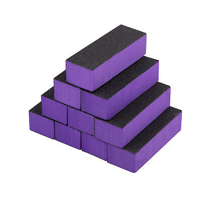 TRIXES 10Pc Purple 3-Way Nail Buffer Block Files DIY Manicure Sanding Filing