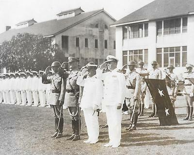 1933 MR Japanese Admiral Hyakutake Visits Panama Canal Gen. Preston Brown Photo