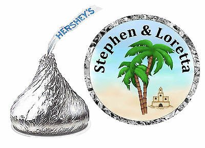 216 Beach Wedding Favors Hershey Kiss Kisses Labels