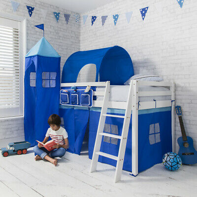 Cabin Bed Mid Sleeper Kids Bed with Tent, Tower and Tunnel 57
