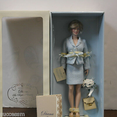 Franklin Mint Princess Diana Vinyl Doll In Blue Boucle Suit MIB 16 Inches COA!!