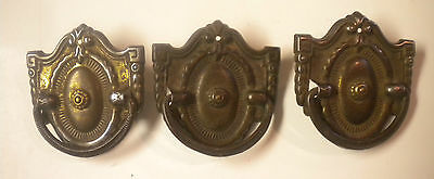 3) Antique Ornate Detailed Knocker Designed Drawer Handles / Pullls