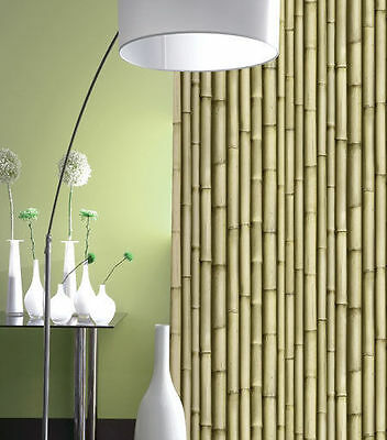 Galerie Textured Bamboo Effect Scrubbable Feature Wallpaper J22317
