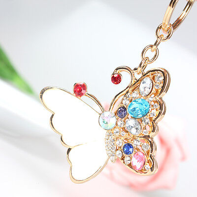 Shell Butterfly Pendant Charm Chain Rhinestone Crystal Purse Bag Key Ring Gift