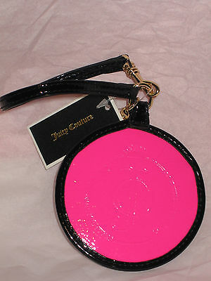 Juicy Couture shiny pink and black beach luggage tag holder case YSRUO056  logo