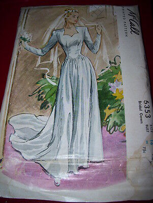 RARE 1946 ( WWII ) McCALL #6353 - LADIES STUNNING BRIDAL GOWN w/TRAIN PATTERN 16