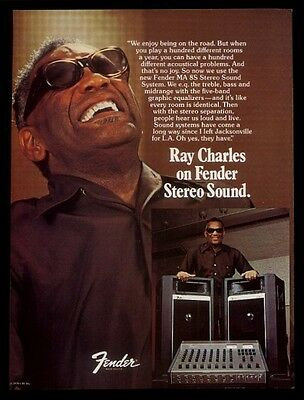 1979 Ray Charles photo Fender MA 8S stereo sound system vintage print ad