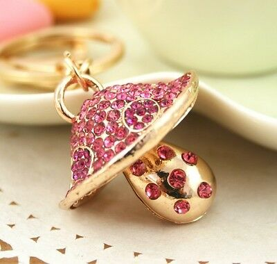 Mushroom New Pink Lovely Charm Pendent Crystal Purse Bag Keyring Key Chain Gift