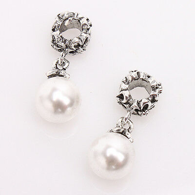 10x Tibet Silver Alloy Pearls European Dangle Charms Beads Fit Bracelet Charm BS