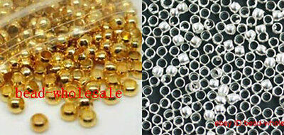 New 500 Pcs Silver & Golden Copper Rondelle Crimp End Beads Jewelry DIY Finding