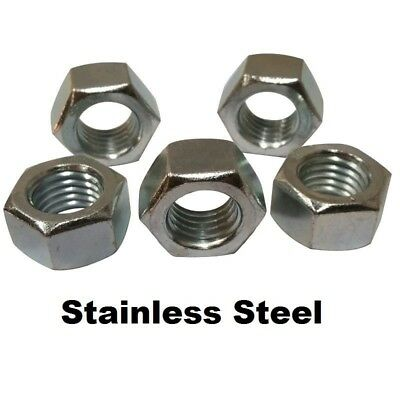 """Qty 100 Stainless Steel Finished / Finish Hex Nuts 1/4""""-20"""