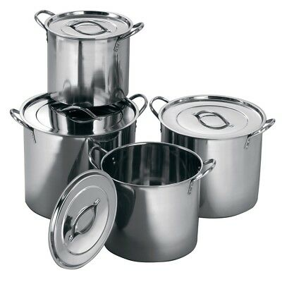 Set Of 4 Large Stainless Steel Kitchen Cookware Cooking Saucepans Stock Pots Set