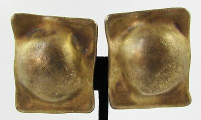 Vintage Pair Jean Duclos Signed Gold Tone Sterling Silver Modernist Earrings