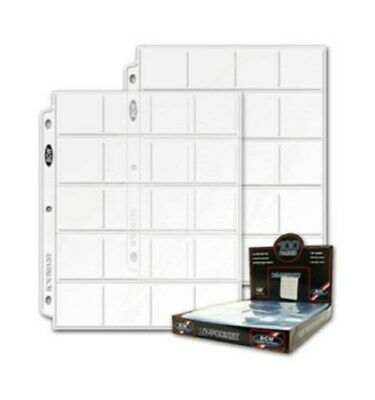 200 BCW Pro 20-Pocket Coin Album Pages Binder Sheets for 2x2 Flips