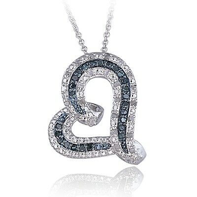 0.50ct TDW Blue or Black & White Diamond Floating Heart Necklace