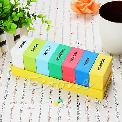 7 Days Colorful Weekly Storage Pill Medicine Box Holder Container Organizer Case