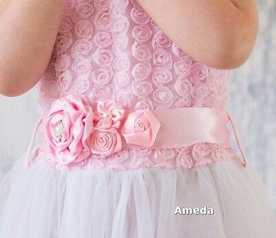 Girls Light Pink White Satin Rosettes Flower Sash