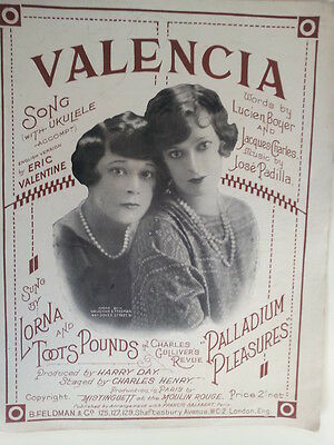 song sheet VALENCIA Lorna and Toots Pounds, Paalladium Pleasures 1925